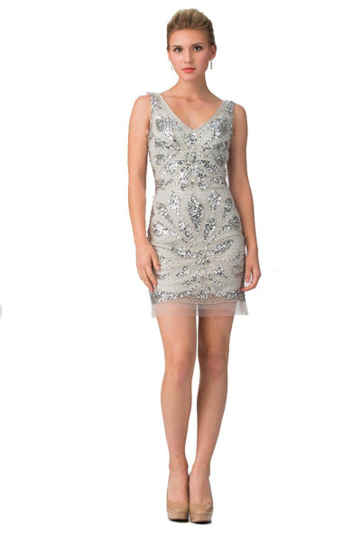 Art-Deco Sequin Short Dress by Star Box 6076-Short Cocktail Dresses-ABC Fashion