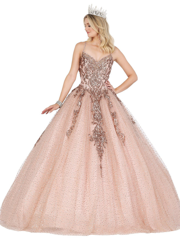 Bead Applique V-Neck Ball Gown by Dancing Queen 1437