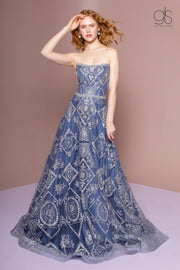 Bead Embellished Long Strapless A-Line Dress by Elizabeth K GL2650-Long Formal Dresses-ABC Fashion