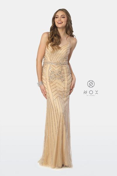 Bead Embellished Long V-Neck Trumpet Dress by Nox Anabel T254-Long Formal Dresses-ABC Fashion