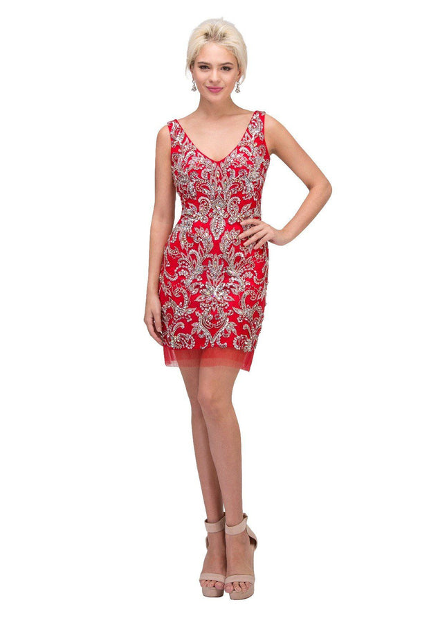 Bead Embellished Short V-Neck Dress by Star Box 6077-Short Cocktail Dresses-ABC Fashion