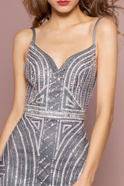 Bead Embellished V-Neck Trumpet Dress by GLS Gloria GL2700-Long Formal Dresses-ABC Fashion