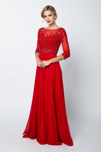 Bead Embroidered Formal Gown with Sheer Sleeves by Juliet 600-Long Formal Dresses-ABC Fashion