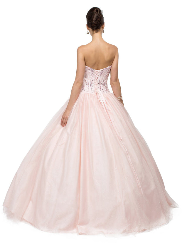 Bead Embroidered Pink Strapless Ball Gown by Dancing Queen 8777-Quinceanera Dresses-ABC Fashion