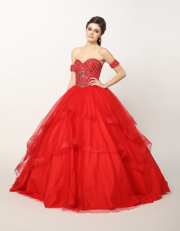 Bead Embroidered Strapless Ball Gown with Glitter Skirt by Juliet 1424-Quinceanera Dresses-ABC Fashion