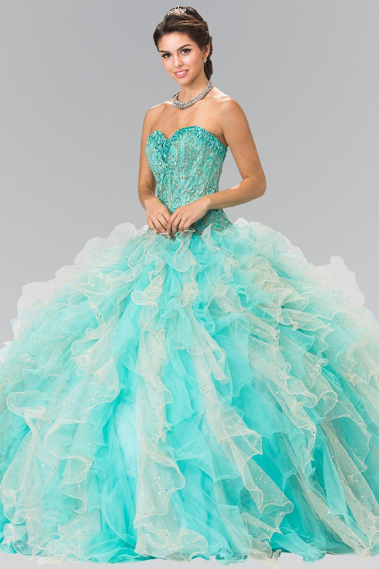 Bead Embroidered Strapless Ruffled Ballgown by Elizabeth K GL2210-Quinceanera Dresses-ABC Fashion