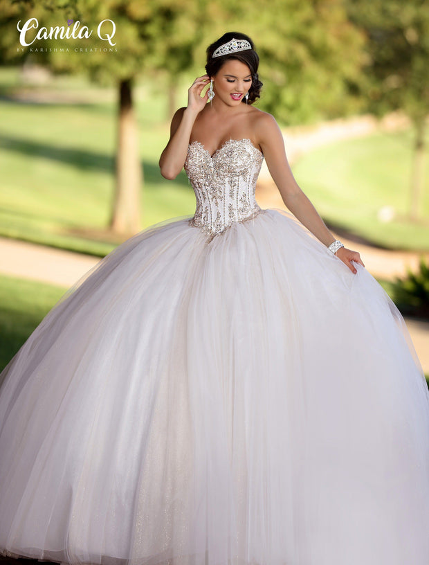 Beaded Applique Strapless Quinceanera Dress by Camila Q Q18007-Quinceanera Dresses-ABC Fashion