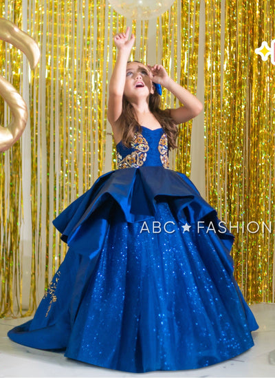 Beaded Blue A-line Ball Gown by Ragazza Kids N04-704