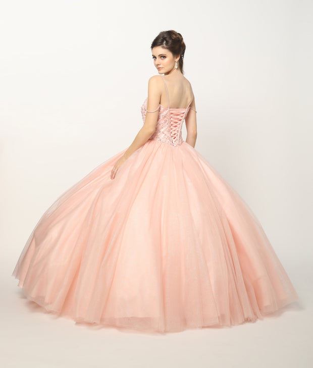 Beaded Bodice and Straps Glitter Mesh Ball Gown by Juliet 1419-Quinceanera Dresses-ABC Fashion