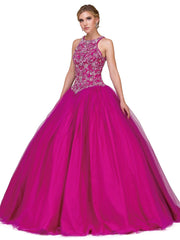 Beaded Bodice Sleeveless A-line Ball Gown by Dancing Queen 1164-Quinceanera Dresses-ABC Fashion
