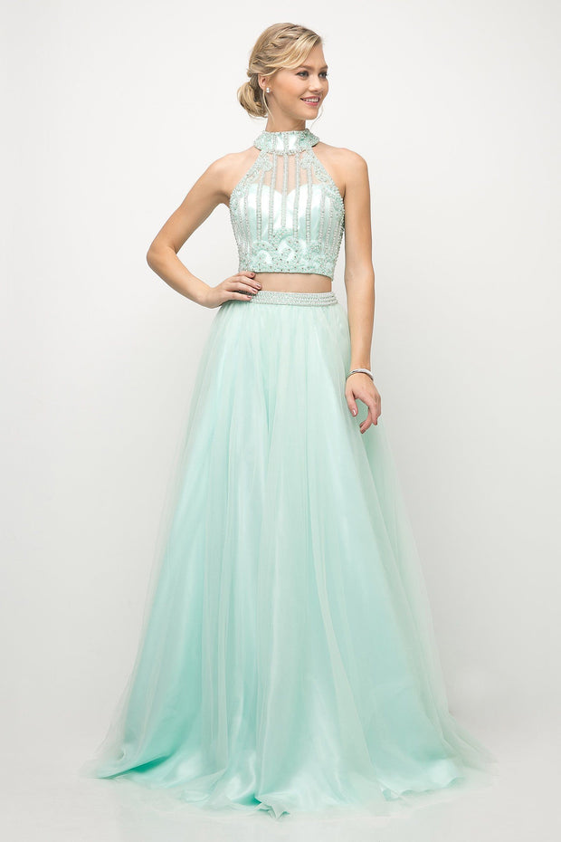 Beaded Bodice Two Piece Ball Gown by Cinderella Divine 8994-Long Formal Dresses-ABC Fashion