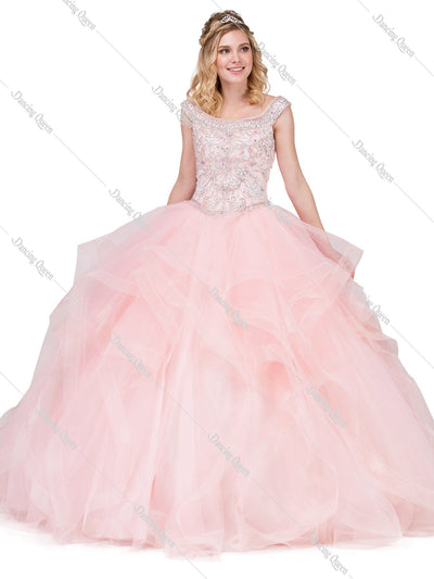 Beaded Cap Sleeve Ball Gown with Layered Skirt by Dancing Queen 1284-Quinceanera Dresses-ABC Fashion