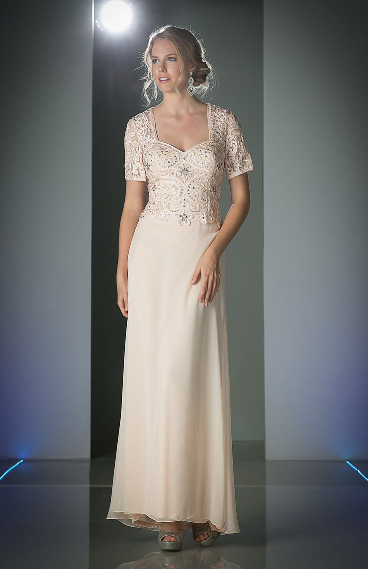 Beaded Chiffon Dress with Short Sleeves by Cinderella Divine 1942-Long Formal Dresses-ABC Fashion