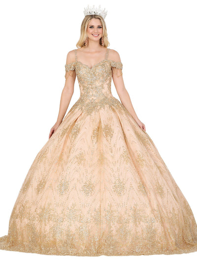 Beaded Cold Shoulder Ball Gown by Dancing Queen 1509