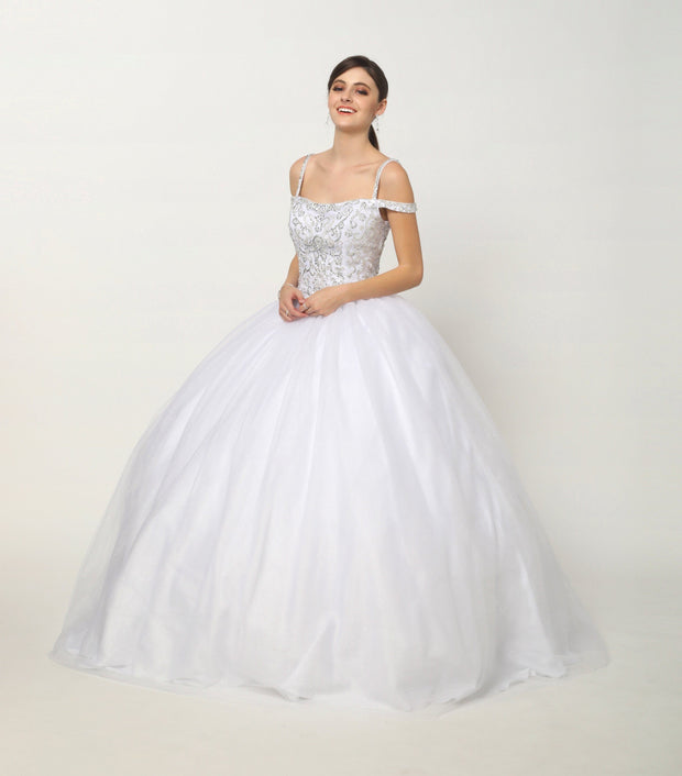 Beaded Cold Shoulder Ball Gown with Glitter Skirt by Juliet 1426-Quinceanera Dresses-ABC Fashion