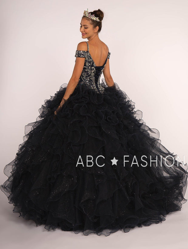 Beaded Cold Shoulder Ball Gown with Ruffled Skirt by Elizabeth K GL2516-Quinceanera Dresses-ABC Fashion