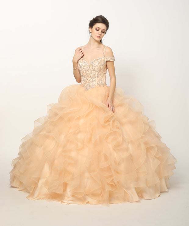 Beaded Cold Shoulder Ball Gown with Ruffled Skirt by Juliet 1421-Quinceanera Dresses-ABC Fashion
