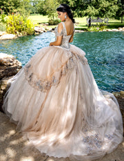 Beaded Cold Shoulder Quinceanera Dress by Camila Q Q1003-Quinceanera Dresses-ABC Fashion