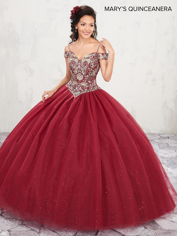 Beaded Cold Shoulder Quinceanera Dress by Mary's Bridal M4Q1001-Quinceanera Dresses-ABC Fashion