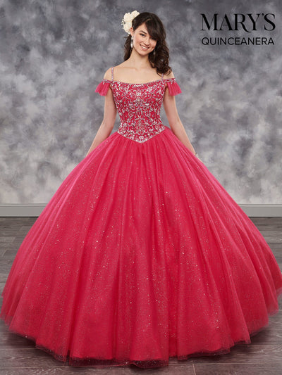 Beaded Cold Shoulder Quinceanera Dress by Mary's Bridal MQ1017-Quinceanera Dresses-ABC Fashion