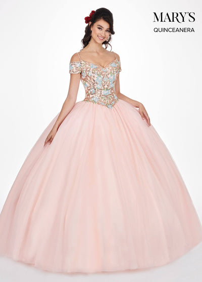 Beaded Cold Shoulder Quinceanera Dress by Mary's Bridal MQ1036-Quinceanera Dresses-ABC Fashion