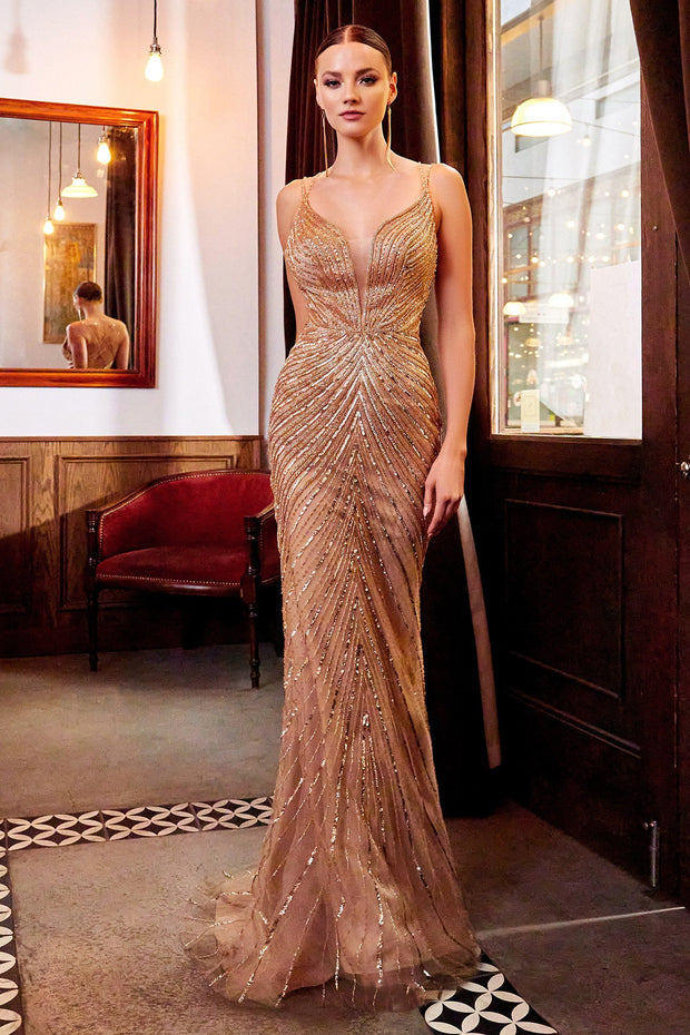 Beaded Fitted V-Neck Gown by Cinderella Divine CDS405