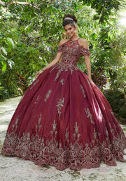 Beaded Flutter Sleeve Quinceanera Dress by Mori Lee Vizcaya 89252-Quinceanera Dresses-ABC Fashion