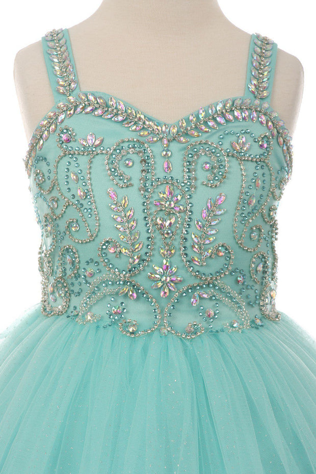 Beaded Girls Long Sweetheart Dress with Bolero by Cinderella Couture 5038-Girls Formal Dresses-ABC Fashion