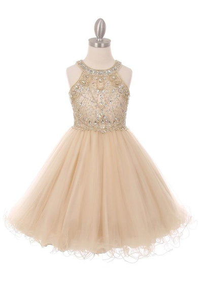 Beaded Girls Short Halter Dress by Cinderella Couture 5022-Girls Formal Dresses-ABC Fashion