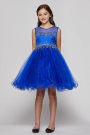 Beaded Girls Short Illusion Tulle Dress by Cinderella Couture 5029-Girls Formal Dresses-ABC Fashion