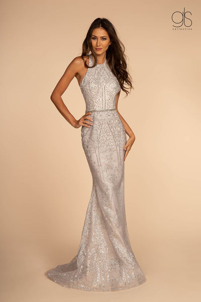 Beaded Glitter Halter Mermaid Dress by Elizabeth K GL2642-Long Formal Dresses-ABC Fashion