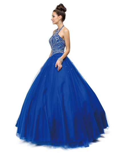 Beaded Halter A-line Ball Gown by Dancing Queen 1107-Quinceanera Dresses-ABC Fashion