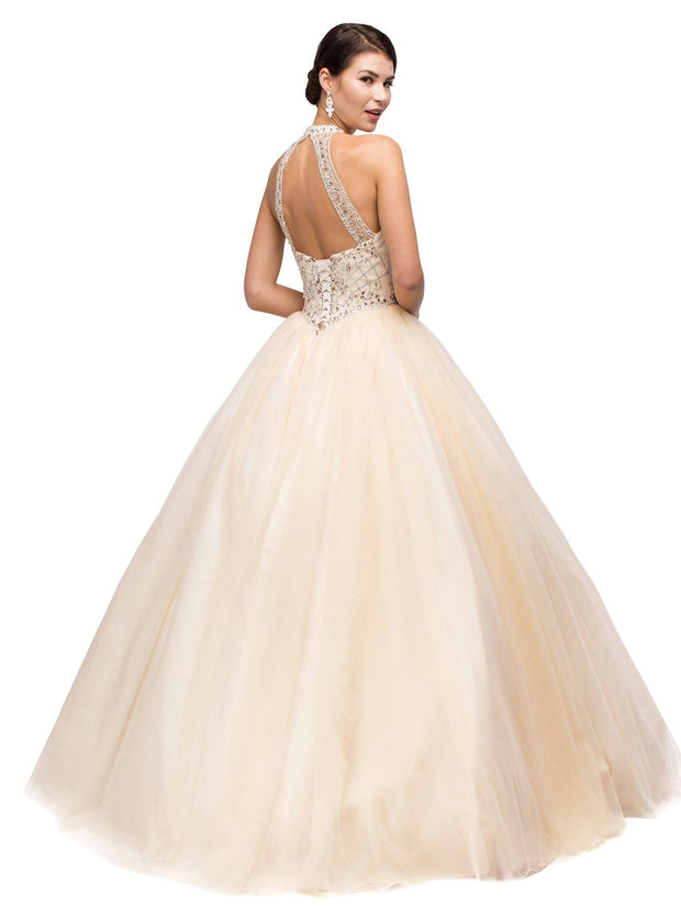 Beaded Halter A-line Ball Gown by Dancing Queen 1136-Quinceanera Dresses-ABC Fashion