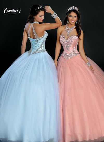 Beaded Halter Glitter Quinceanera Dress by Camila Q Q17107-Quinceanera Dresses-ABC Fashion