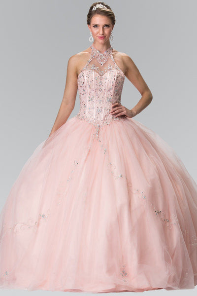 Beaded Halter Illusion Ballgown by Elizabeth K GL2348-Quinceanera Dresses-ABC Fashion