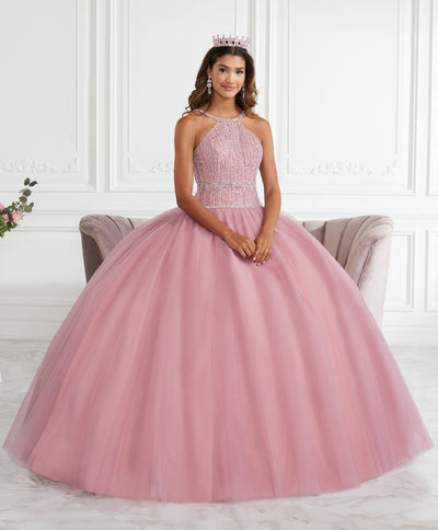 Beaded Halter Quinceanera Dress by Fiesta Gowns 56391-Quinceanera Dresses-ABC Fashion