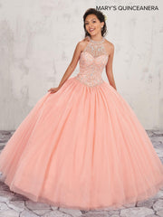 Beaded Halter Quinceanera Dress by Mary's Bridal M4Q1002-Quinceanera Dresses-ABC Fashion