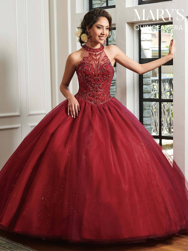 Beaded Halter Quinceanera Dress by Mary's Bridal MQ1019-Quinceanera Dresses-ABC Fashion