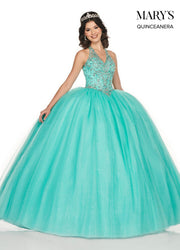 Beaded Halter Quinceanera Dress by Mary's Bridal MQ2074-Quinceanera Dresses-ABC Fashion