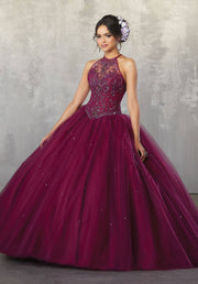 Beaded Halter Quinceanera Dress by Mori Lee Valencia 60038-Quinceanera Dresses-ABC Fashion