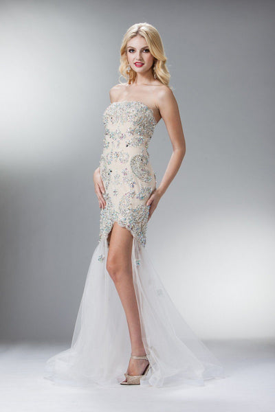 Beaded High Low Dress by Cinderella Divine 7911