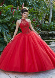 Beaded High Neck Quinceanera Dress by Mori Lee Valencia 60095-Quinceanera Dresses-ABC Fashion