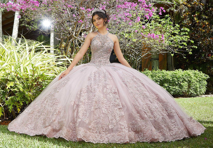 Beaded High Neck Quinceanera Dress by Mori Lee Vizcaya 89284