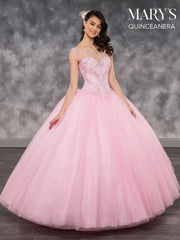 Beaded Illusion A-line Quinceanera Dress by Mary's Bridal MQ2033-Quinceanera Dresses-ABC Fashion