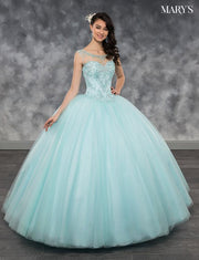 Beaded Illusion A-line Quinceanera Dress by Mary's Bridal MQ2033