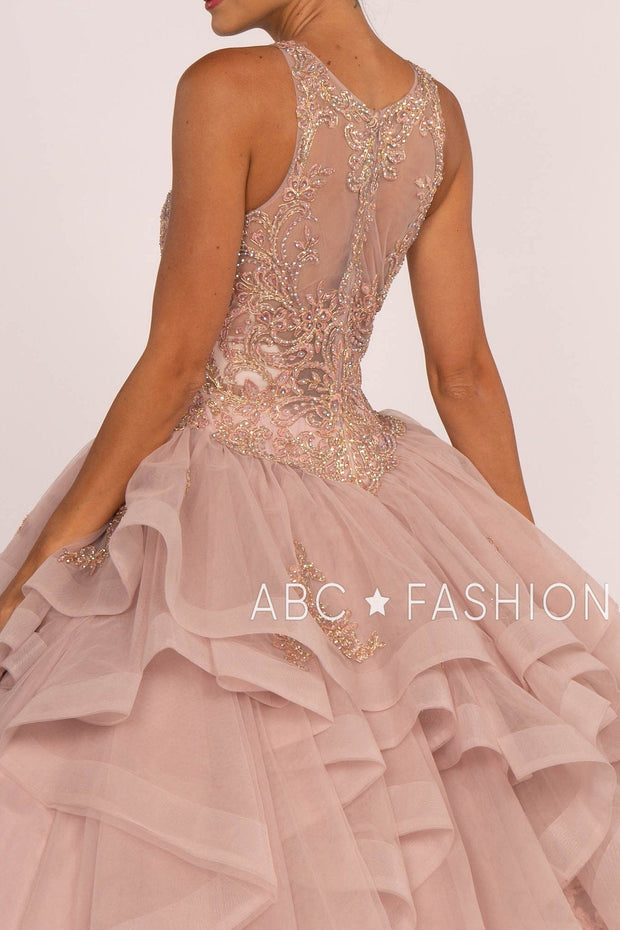 Beaded Illusion Ball Gown with Layered Skirt by Elizabeth K GL2513-Quinceanera Dresses-ABC Fashion