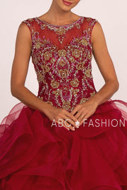 Beaded Illusion Ball Gown with Ruffled Skirt by Elizabeth K GL2511-Quinceanera Dresses-ABC Fashion