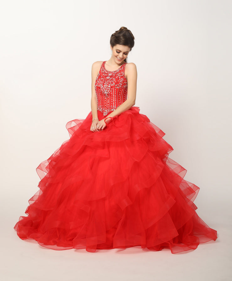 Beaded Illusion Ball Gown with Ruffled Skirt by Juliet 1423-Quinceanera Dresses-ABC Fashion