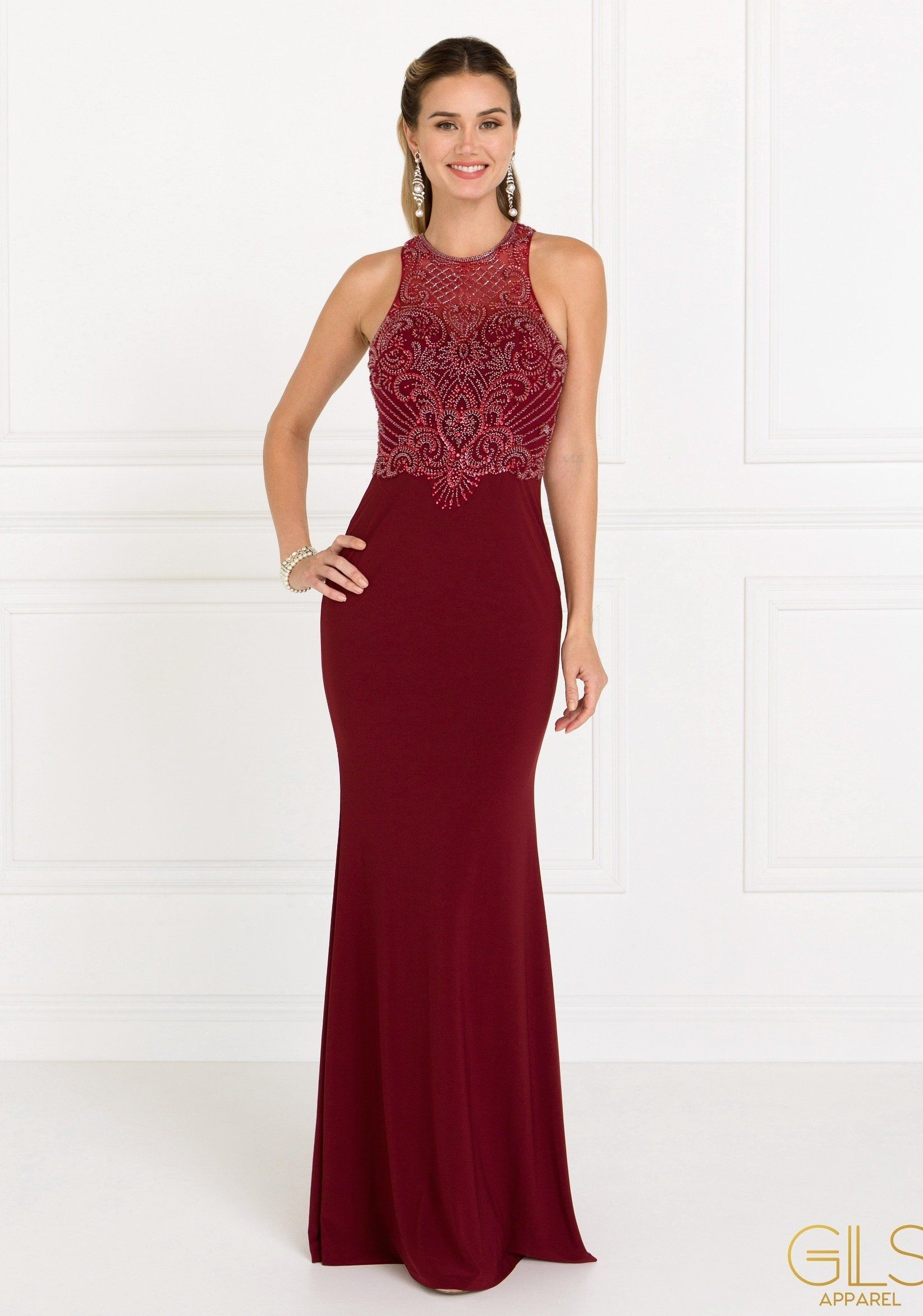 Beaded Illusion Burgundy Mermaid Dress by Elizabeth K GL1507-Long Formal Dresses-ABC Fashion