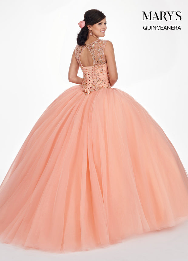 Beaded Illusion Cap Sleeve Quinceanera Dress by Mary's Bridal MQ1041-Quinceanera Dresses-ABC Fashion